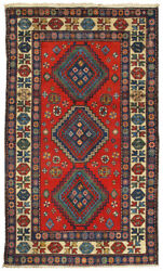 Pasargad Vintage Kazak Collection Hand-knotted Lamb's Wool Rug- 4' 4 X 6' 11