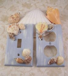 Light Switch Plate Cover Beach Blue Distressed Seashell Switchplates Home Decor