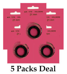 5 Airtite T21 Black Ring Capsules For 21mm Coins Crystal Clear Safe Storage