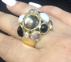 Ippolita Gellato Mother Of Pearl Quartz And Onyx 18k Yellow Gold Dome Ring 21563