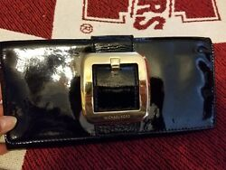 Michael Kors Black Leather Clutch Evening Bag Gold Buckle with credit card slots