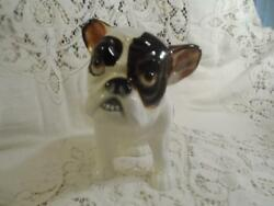 Antique Large Hand-Painted Porcelain French BullDog Statue Figurine