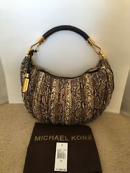 NEW MICHAEL KORS Python-embossed Leather Crescent Hobo Bag- LIMITED EDITION!!!