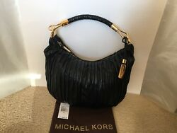 NEW MICHAEL KORS Skorpios Crescent Pleated Leather Hobo Bag - LIMITED EDITION!!!