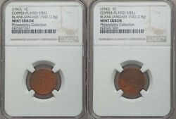 ON SALE 1943 Lincoln Cent Set of 2 Experimental Copper Blanks NGC (Only 4 Known)