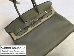 Authentic NEW Hermes BIRKIN 35 Sauge Sage Green Clemence Leather Silver Hardware