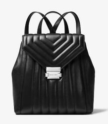 Michael Kors Whitney Quilted Leather Backpack Bag Silver Handbag Black NWT $358