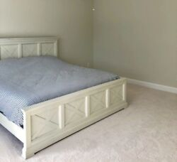 New King Panel Bed. Comes With Metal Foldable Box Springs.