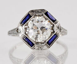 Art Deco Style Engagement/ring Platinum Blue Sapphire Engraved Setting Only Ring