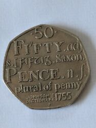 Rare Samual Johnsonand039s Dictionary 50p Fifty New Pence Coin Saxon Plural Of Penny