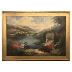 Americana Landscape Oil On Canvas Painting Signed P. Paul Framed