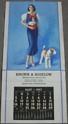 Pin-Up Girl Poster sexy brunette with Airedale Terrier by Rolf Armstrong 1935