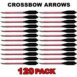 120 Aluminum Metal Bolts Arrows For 50 And 80 Lb Crossbow Archery Xbox - Red