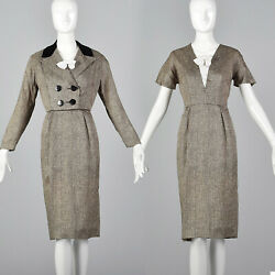 M 1950s Set Short Sleeve Pencil Dress Boxy Jacket Removable Dickie Day Wear 50s