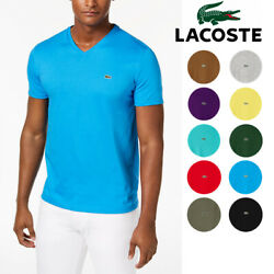 Mens Lacoste T-shirt V Neck Pima Cotton Ss Regular Fit Tee Lacoste Th6710 New