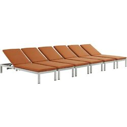Shore Chaise With Cushions Outdoor Patio Aluminum Set Of 6 In Silver Orange
