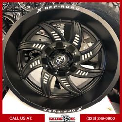 22x12 Xf-206 Offroad On 33/12.50r22 Satin Black/milled Wheels With M/t Tires