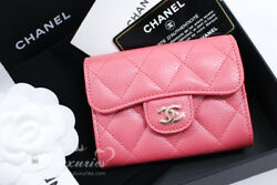 NEW CHANEL 18S PEARLY PINK CAVIAR XL CARD HOLDER BACK POCKET