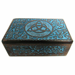 NEW Blue Painted Triquetra Carved Wooden Box 5x8quot; Wood Celtic Knot Chest $24.99