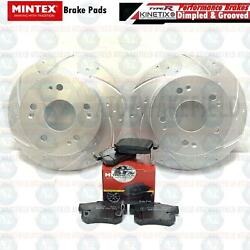 FOR HONDA INTEGRA 2.0 DC5 TYPE R REAR DIMPLED & GROOVED BRAKE DISCS MINTEX PADS