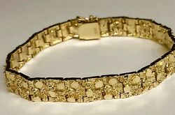 14 Kt Solid Yellow Gold Mens Nugget Fashion Bracelet 10 Mm 45 Grams 10