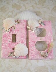 Seashell Light Switch Plate Covers Beach Pink Bathroom Bedroom Home Decor New