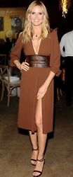Michael Kors Runway Brown Chiffon & Leather Party Cocktail Dress SZ 8 $2595 NEW