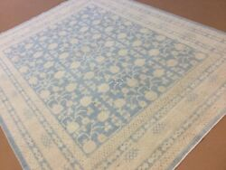 8' x 10' Soft Blue Beige Oushak Persian Oriental Rug Excellent Hand Knotted Wool