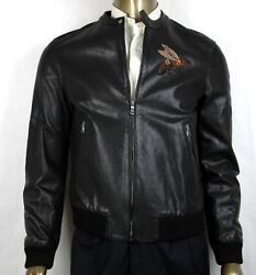 4750 Men Black Washed Calf Bomber Jacket W/bee Embroidery 52r 408375 1300