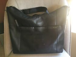 Tumi Women's Black Leather Large Messenger Crossbody Hobo Bag