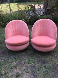 Pair Of Pink Velour And Brass Thayer Coggin Swivel Chairs