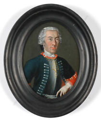 Officer Of Army Of Holy Roman Empire Large Oil On Copper Miniature 18th C.
