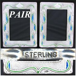 Antique Art Nouveau Matched Pair Of Sterling Silver And Enamel 7.5 Picture Frames