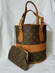 AUTHENTIC LOUIS VUITTON MONOGRAM FRENCH COMPANY BUCKET BAG WITH COSMETIC POUCH