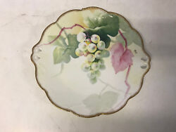 Antique Old Abbey Limoges France Hand Painted Porcelain Plate / Cookie Tray