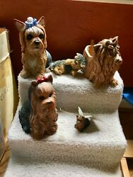Yorkie Statue Collection 2 Resin figurines wine bottle holder treat jar etc.