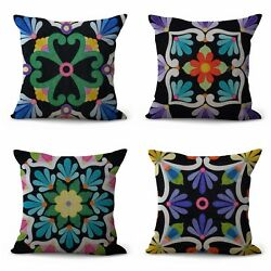 4pcs cushion covers Mexican talavera inspired decorative pillow covers