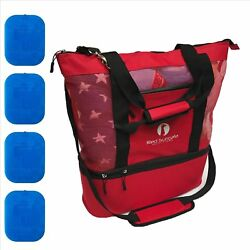 Red Suricata Improved Mesh Beach Bag with Leak-proof Rigid Cooler Red