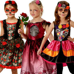 Day of the Dead Girls Fancy Dress Halloween Spooky Skeleton Childs Kids Costumes