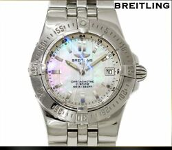 Good Condition Breitling Star Liner A71340 Quartz Womenand039s Watch White Shell