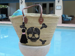 New Large Straw Tote Beach Bag with Hand-Painted Skull & Bones