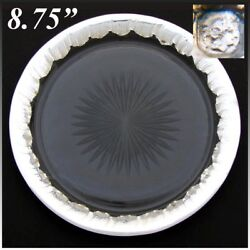 Antique French Rococo Sterling Silver Framed Cut Glass 8 3/4 Pie Plate Platter