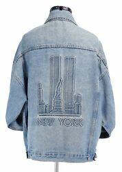 RARE Vtg 1996 25 yrs New York TWIN TOWERS Embossed Blue Jean Jacket Lg USA