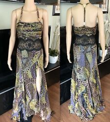 Gianni Versace Vintage Runway Sexy Open Back Dress Gown It 40 Iconic
