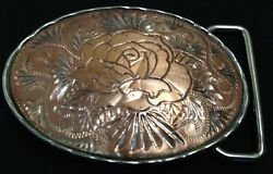 Etched Copper And Silver Finish Border - Floral - Small Buckle - Free Shipping