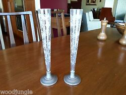 2 Rare Antique Wolfenden Sterling Silver Crystal Glass Rose Bud Vases Weighted