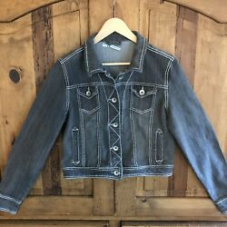 Womens Maurices Charcoal Denim Jean Jacket Size M