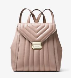 Michael Kors Whitney Quilted Leather Backpack Bag Handbag Fawn Gold NWT $358