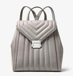 Michael Kors Whitney Quilted Leather Backpack Bag Handbag Pearl Gray NWT $358
