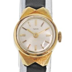Tudor Antique K18 Yg Silver Dial Bk Leather Hand Winding Womenand039s Watch